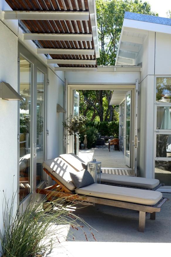 midcentury modern glass passageway, Santa Barbara