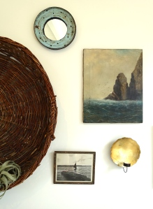the basket and vintage painting from Mate Gallery