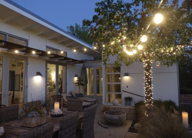 midcentury modern patio at night